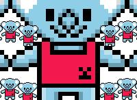 8-bit pixel art animated gif of Smiling Bear