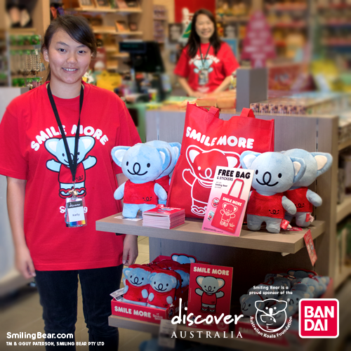 Koala plush toys by Smiling Bear in Discover Australia souvenir store at Sydney airport