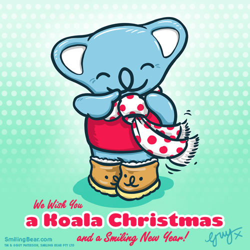 A cute koala christmas card with Smiling Bear wearing ugg boots and a scarf