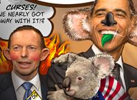 Tony Abbott and President Obama Cuddling A Koala in Australia G20
