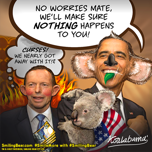 Tony Abbott and President Obama Cuddling A Koala in Australia G20