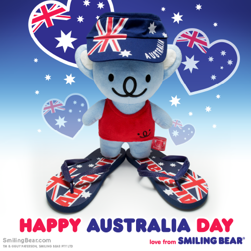 Koala bear plushie, Smiling Bear in Australia Day outfit, with Australia flag hat, singlet and thongs