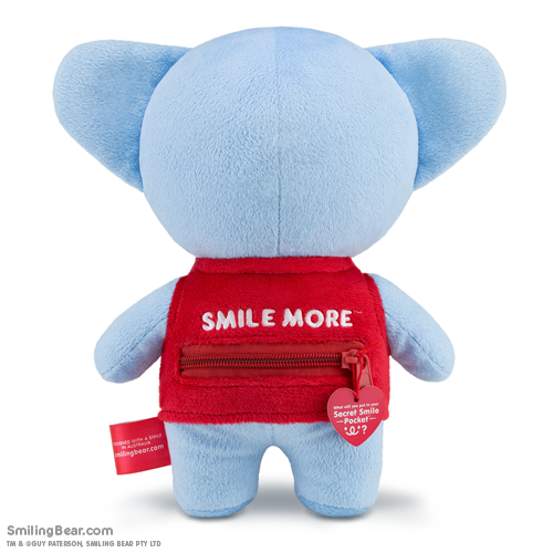 Smile More lettering embroidered above Secret Smile Pocket on the back of our koala soft toys