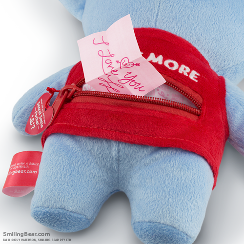 Smile More Secret Smile Pocket™ on the back of our koala soft toys with love note inside