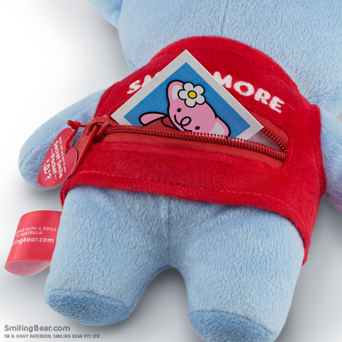 Smile More Secret Smile Pocket™ on the back of our koala soft toys with photo inside
