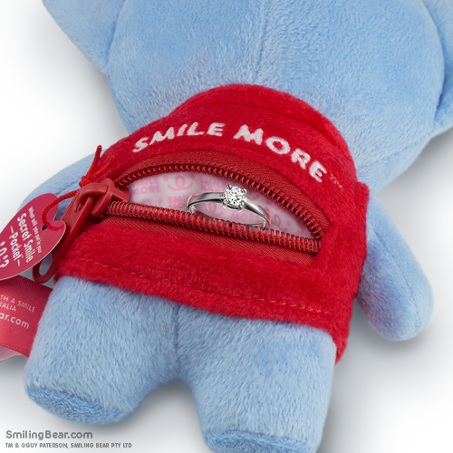 Smile More Secret Smile Pocket™ on the back of our koala soft toys with engagement ring inside