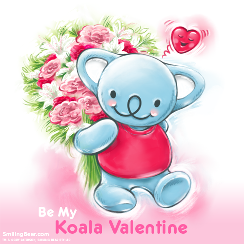 Koala valentine ecard, koala carrying bunch of flowers and heart